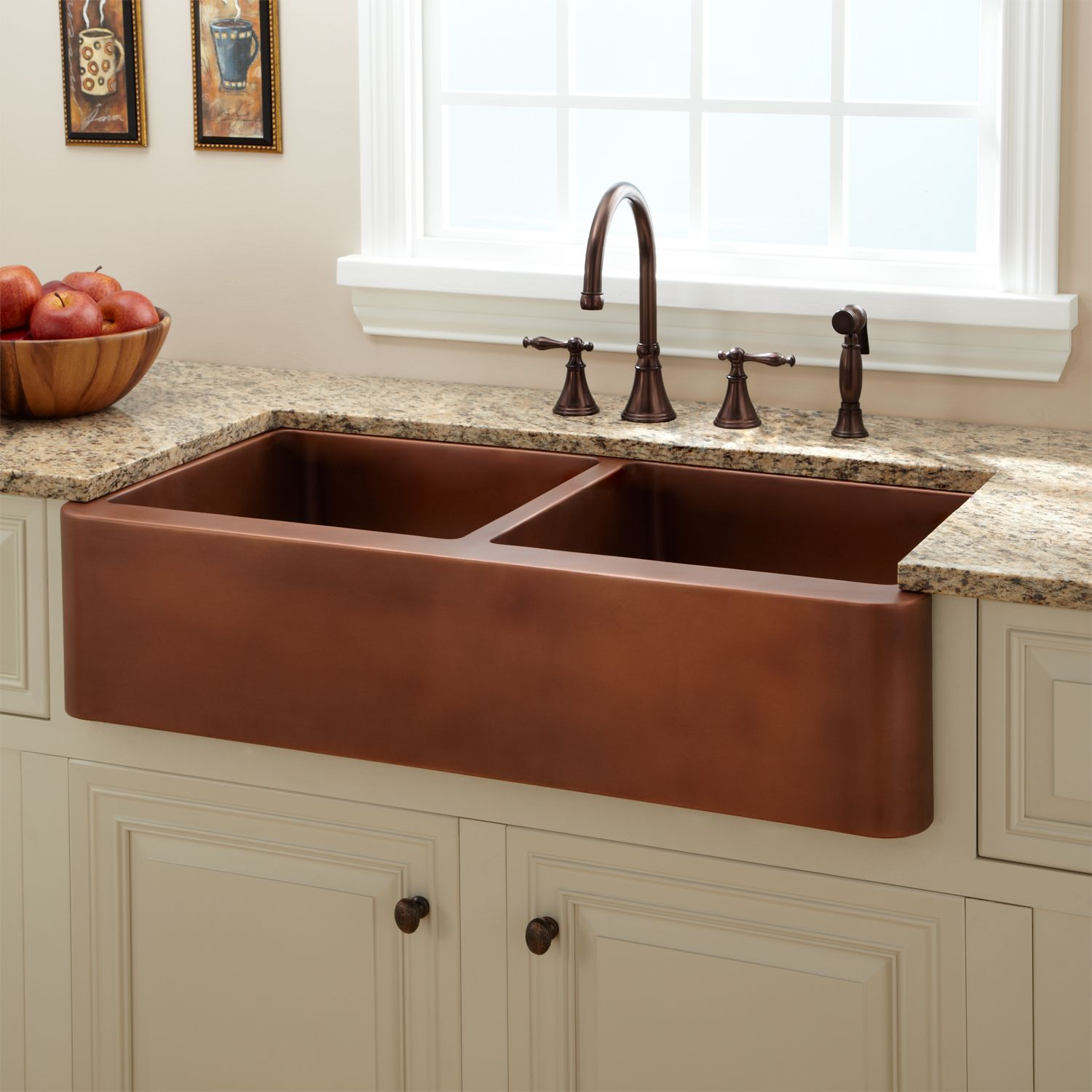 Astounding double copper farmhouse sink with double handle
