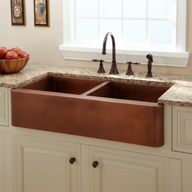 "39"" tamba smooth double well farmhouse copper sink   kitchen reno"