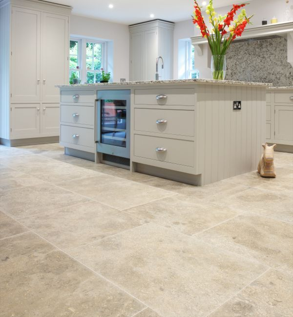 Bergerac Grey Limestone In A Satino Finish. These