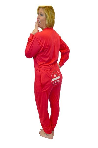 7fc71f45a Big Feet Pajamas red onesie union suit has funny butt flap with a NO ENTRY  sign screen printed on the flap. These non-footed onesies can be worn as  pajamas, ...