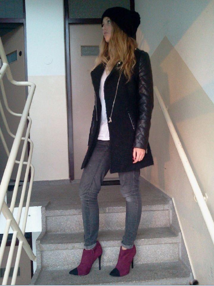 beanie, leather sleeved coat, burgundy heels