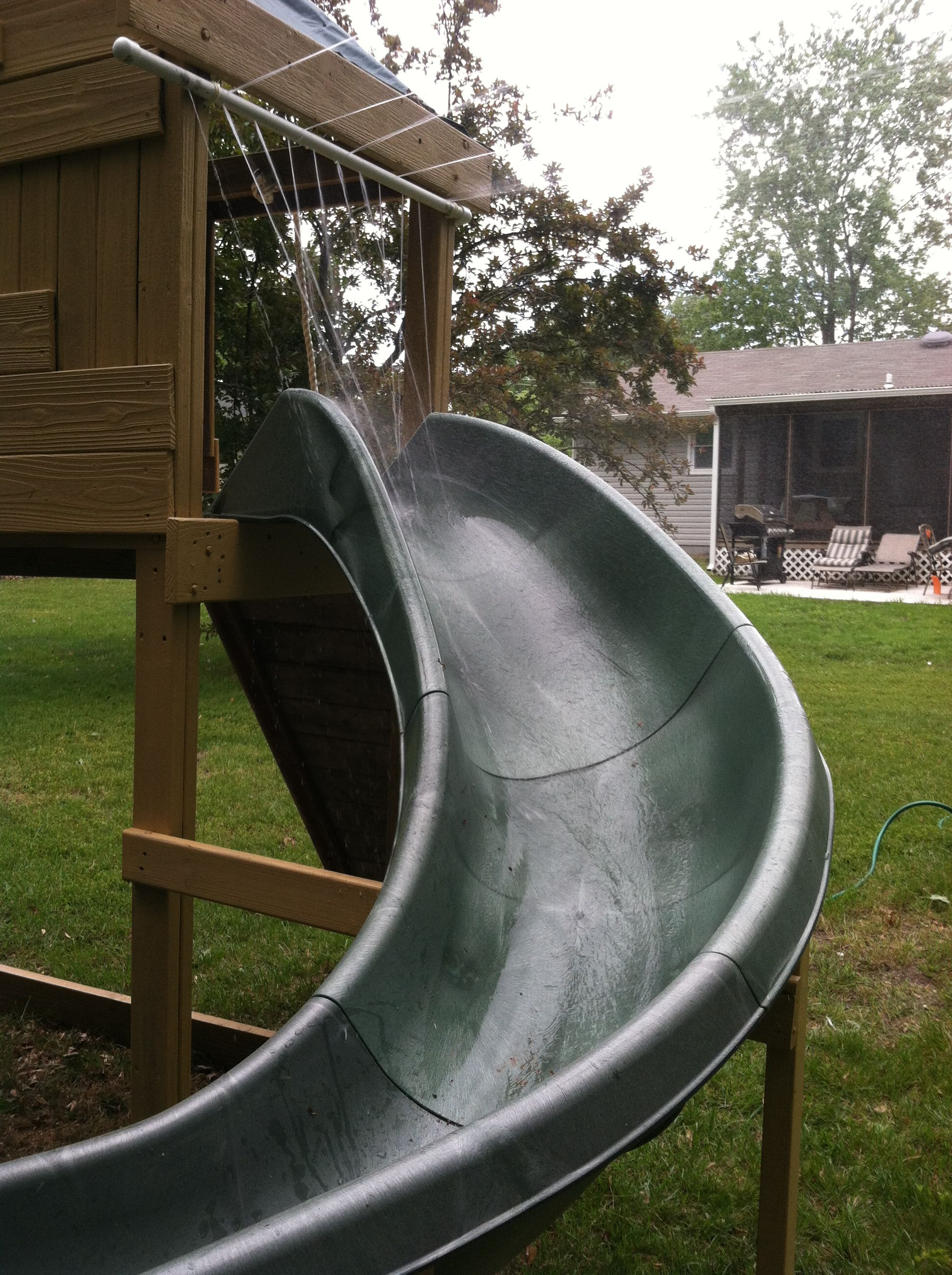 Homemade water slide just add a pool at the end of the - How to build a swimming pool slide ...