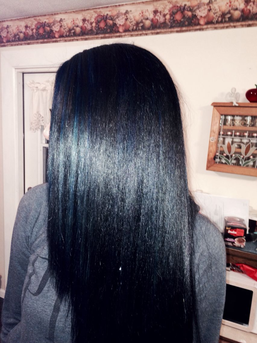 Jet black hair wblue tint and blue highlights hair ideas in