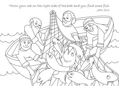 A Net Full Of Fish Bible Coloring Page