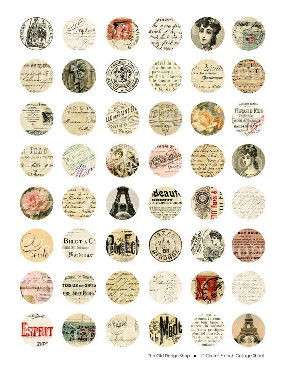 Altered Vintage French 1 inch Circles Digital by TheOldDesignShop, $3.50