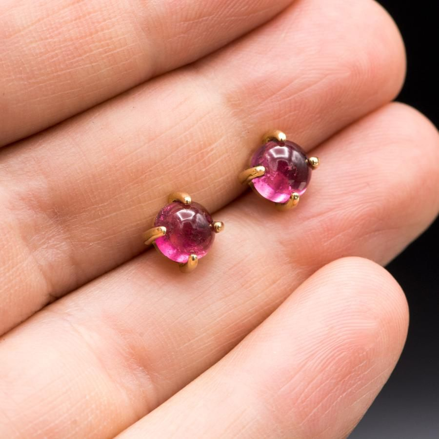 Pink Sapphire Ruby Ombre Stud Earrings  14k Ombre Diamond Stud Earrings  Post Earrings  Anniversary Gift  Birthday Gift  Gift for Her