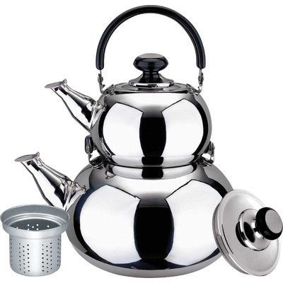 Alpine Cuisine Stainless Steel Double Tea Kettle