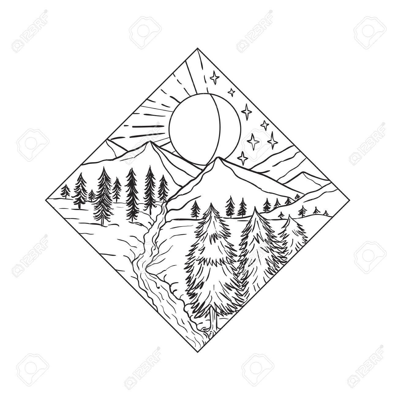 Mono line illustration of Night and Day Sun and Moon stars with mountain river and trees set inside diamond shape on isolated background done in black and white. , #SPONSORED, #Moon, #Sun, #mountain, #stars, #Day