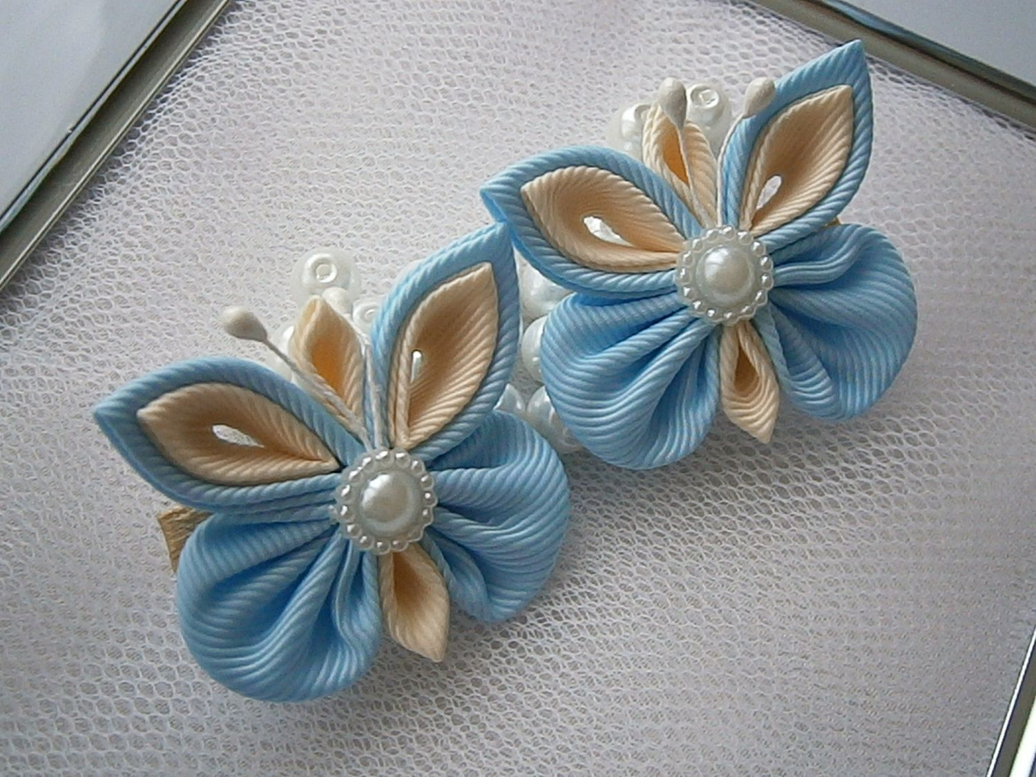 Butterfly hair accessories for weddings uk - White Handmade Kanzashi Girls Women Ladies Hair Clips Bows Slides Pins Buy In Uk Shipping Worldwide Bridesmaid Wedding Bridal Gift Present Butterfly