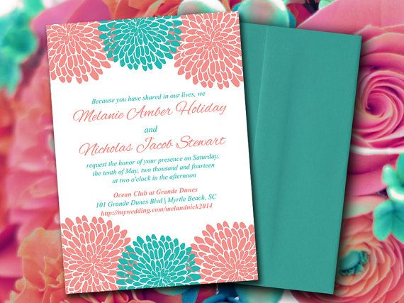 INSTANT DOWNLOAD Chrysanthemum Wedding Invitation Microsoft Word Template |  5x7 Turquoise Peach Teal Coral Invitation Printable