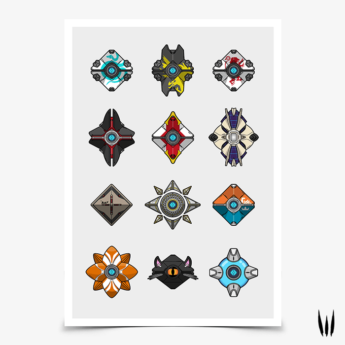 Destiny 2 Ghost Shell Collection Gaming Poster Ghost In The Shell Gaming Posters Shell Collection