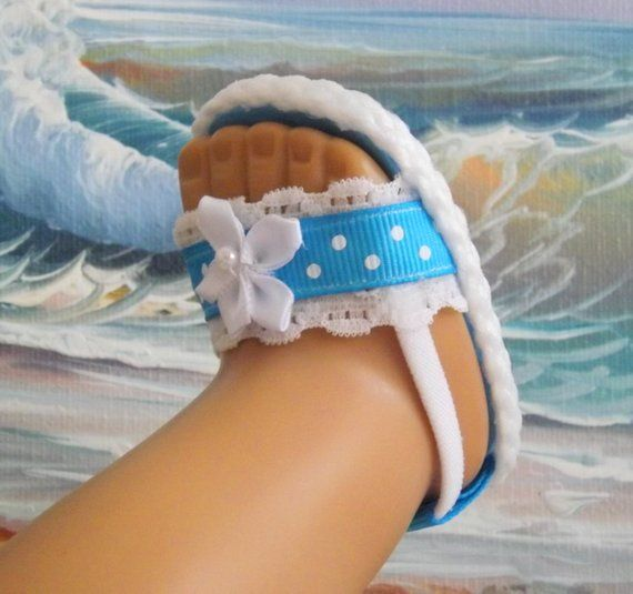 Doll Sandals for 18 or 16 dolls and 13-14 dolls and 14.5 dolls (You Select Size) Bright Turquoise Shoes With White Lace Accents