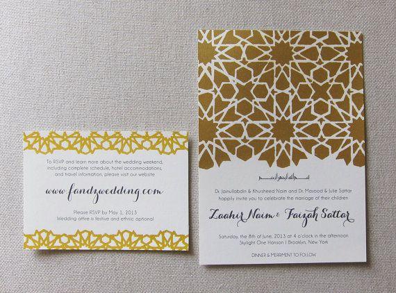 Mosaic Geometric Pattern Wedding Invitation Gold Wedding