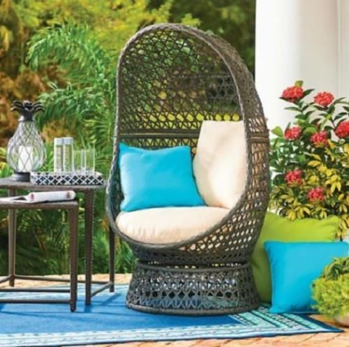 Outdoor Brown Resin Wicker Swivel Egg Chair With Cushions Pool