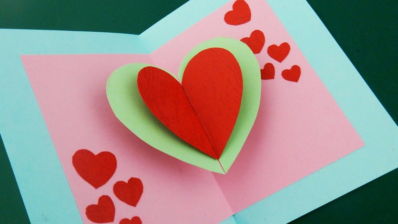Pop Up Card Floating Heart How To Make A Mini Greeting Card With