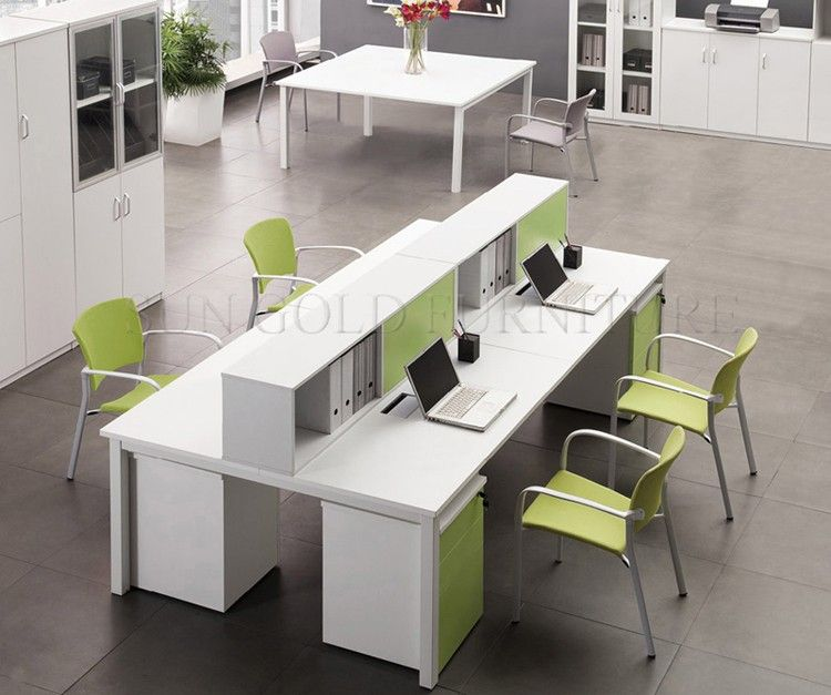 Office Table For 4 Person: Economic & Fashion 4 Person Office Workstation Design (SZ