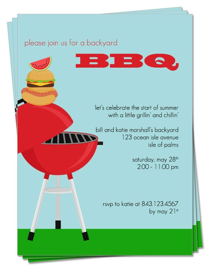 PRINTABLE - BBQ Party Invitation Party Planning Pinterest - invitation to a party
