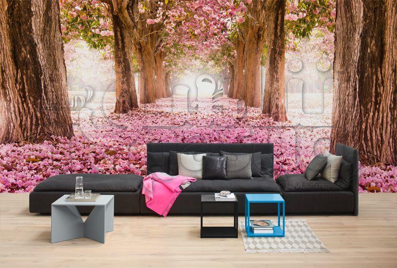 3d Pink Trees Background خلفيات مجسمة للمنزل أشجار زهرية Outdoor Sectional Outdoor Sectional Sofa Decor