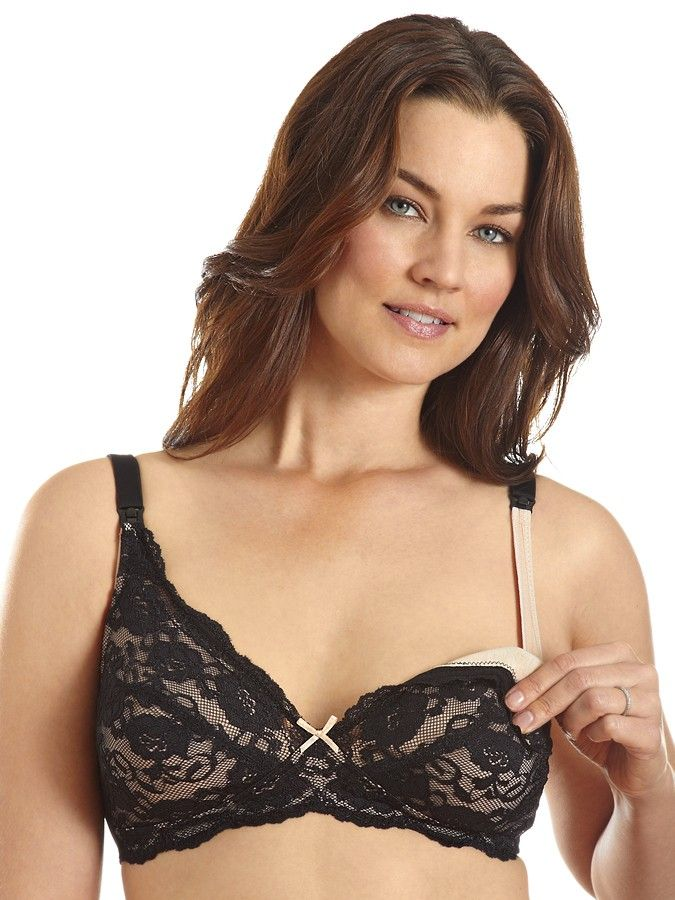Lace-Cup Wirefree Nursing Bra Black Lace... This girl is not ...