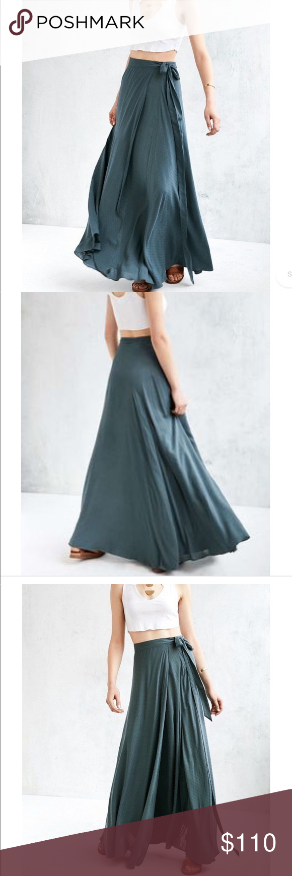 1c7aaf056c4a UO Ecote Zella Boho Wrap Skirt Gorgeous, blue maxi wrap skirt by Ecote.  Meant to be worn higher on the waist. Size small but since it is a wrap  skirt it ...