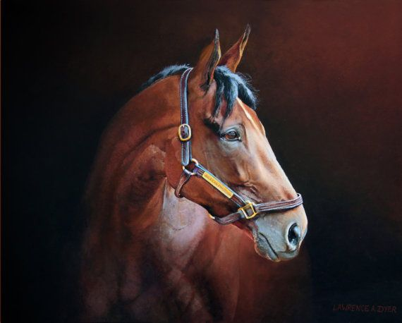 Title: American Pharoah Portrait  This listing is for a Canvas art print made from an original acrylic painting by Lawrence Dyer. The canvas