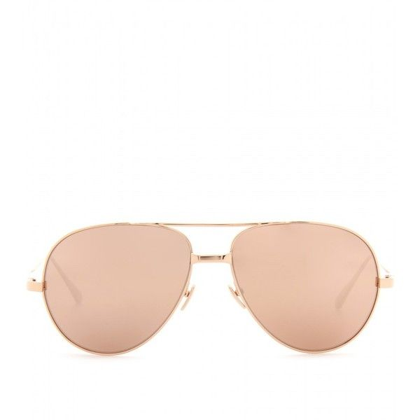 Linda Farrow Luxe Mirrored Aviator Sunglasses (€965) ❤ liked on Polyvore featuring accessories, eyewear, sunglasses, glasses, rose gold, rose glasses, logo sunglasses, uv protection sunglasses, mirrored aviator sunglasses and rose sunglasses