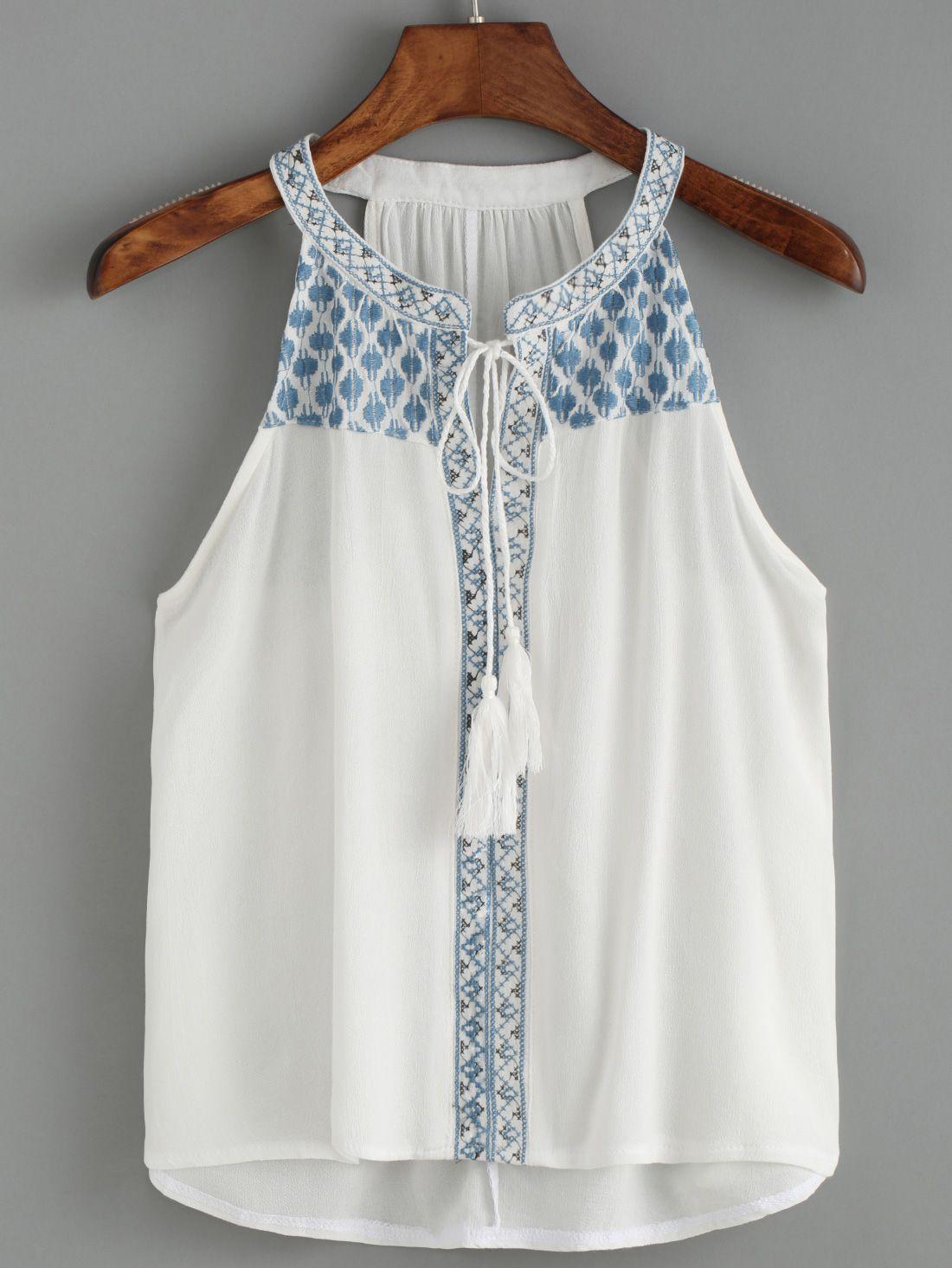 Halter Embroidered White Tank Top | customizar/ blusas verano ...