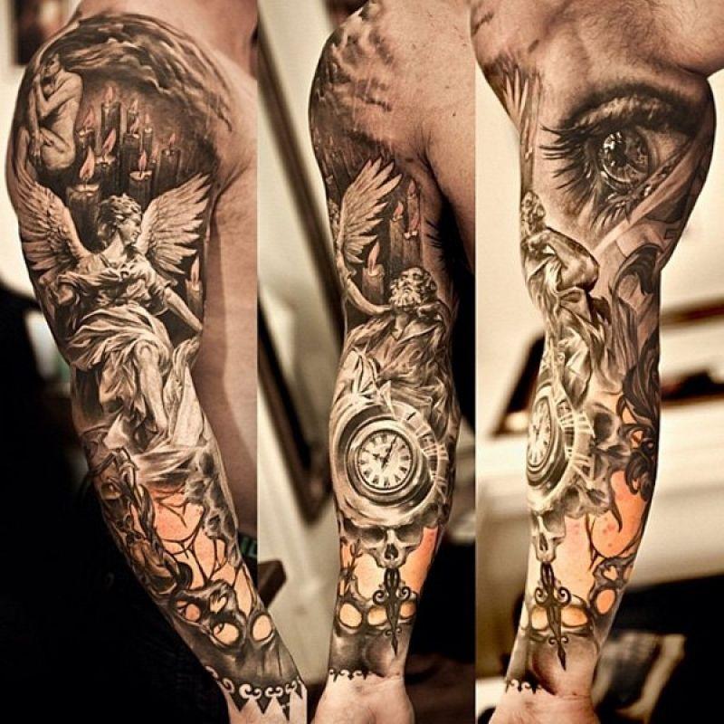 Angels And Demons Tattoo Sleeve 60 Holy Angel Tattoo Designs Art And Design Jpg 800 800 Best Sleeve Tattoos Tattoos Full Sleeve Tattoos