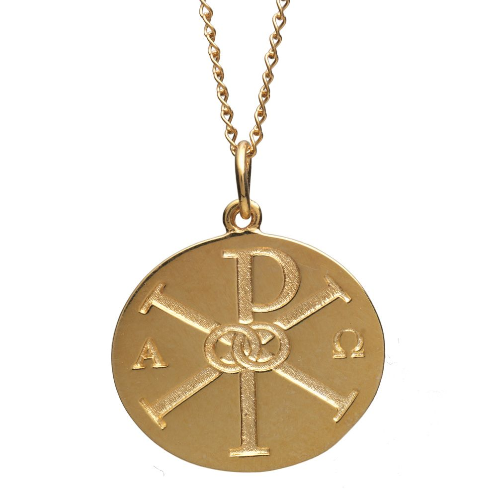 Chi rho pendant necklace chi rho pendants and christian fine art jewelry chi rho pendant necklace features the early christian symbol for christ in buycottarizona Images