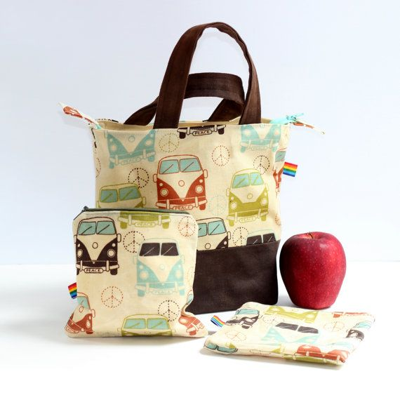 Waxed Canvas Lunch Tote with Snack Bags Bundle, Eco Friendly, Natural, Food Safe, Reusable Waxed Canvas, All Natural Alternative to Plastic