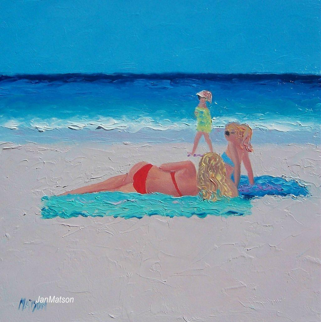 Girls on beach in painted bikini