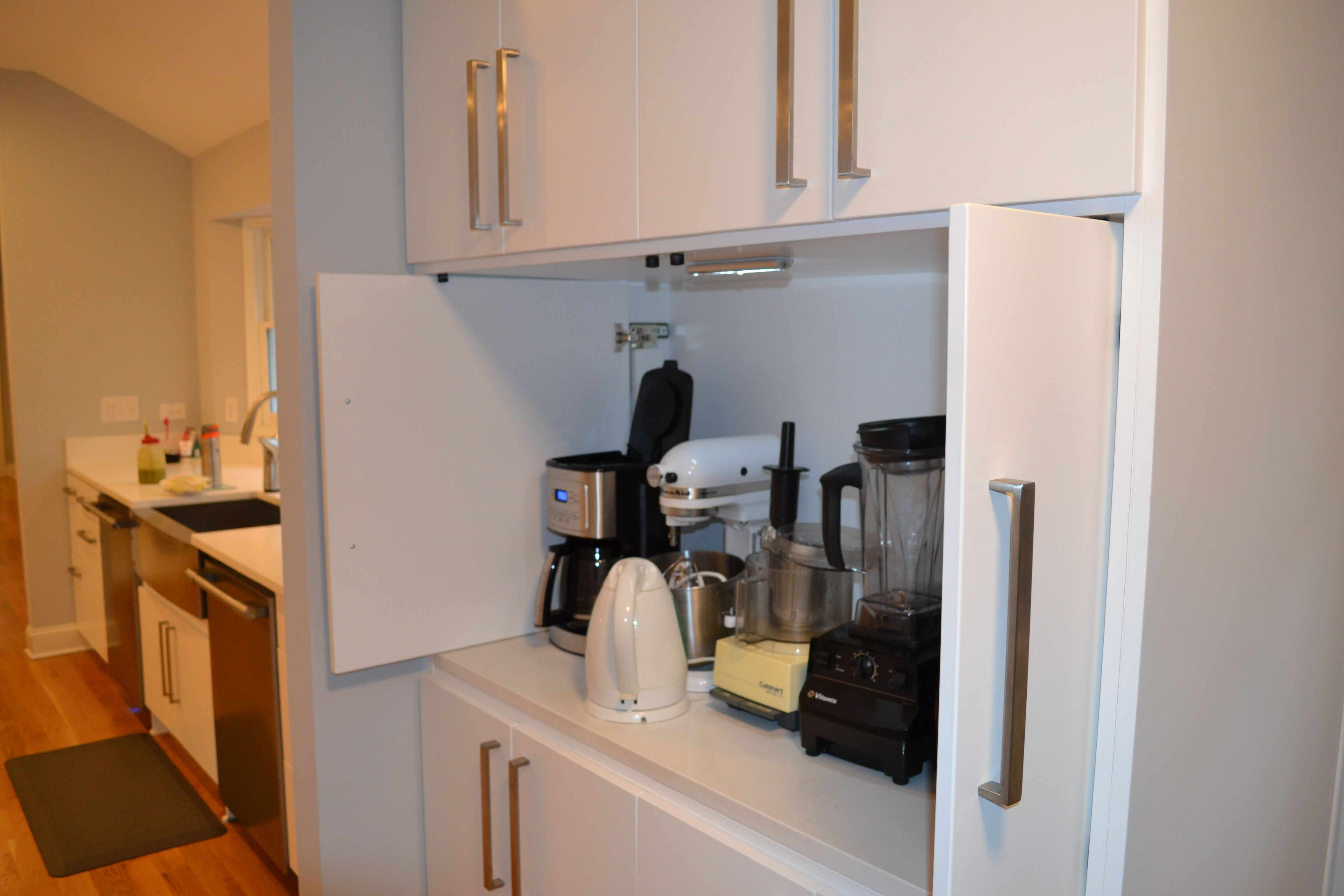 Kitchen Pantry Open, All Appliances Are Plugged In And Stay On The Quartz  Countertop