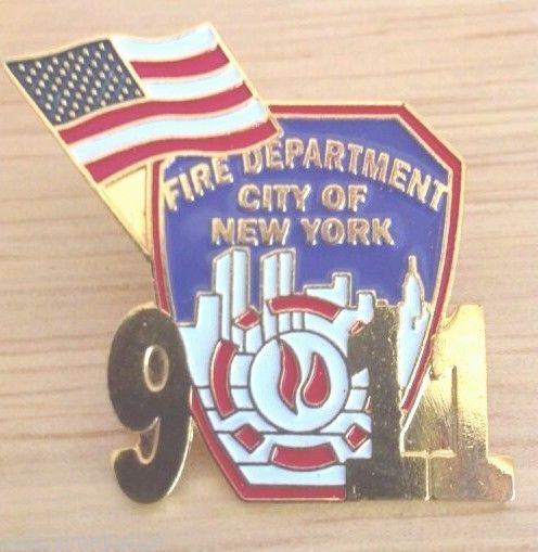 Commemorative Fire Department New York FDNY 9//11 Pin WTC Remembrance w// USA Flag