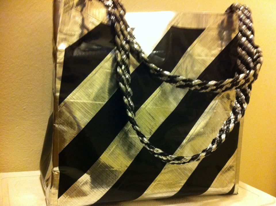 Black and gold Duck Tape purse with woven strap