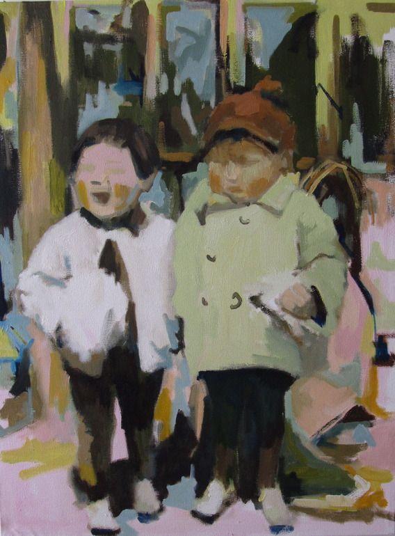 """Saatchi Online Artist: motoko kamada; Oil, Painting """"Green Coat, Cotton Candy"""""""