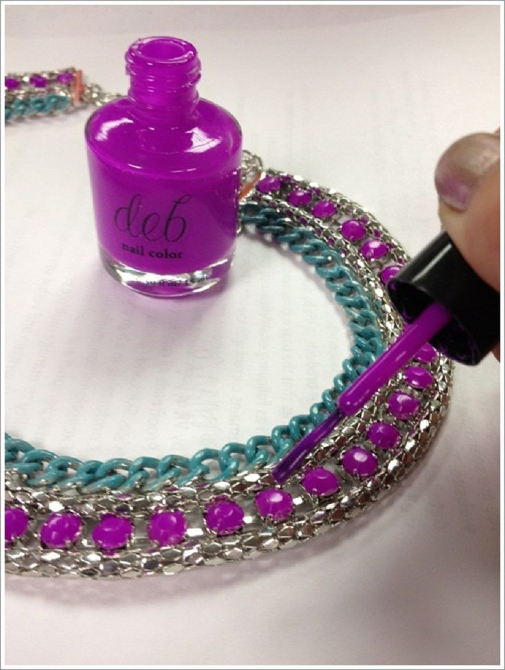 Instantly change the color of costume jewelry with nail polish