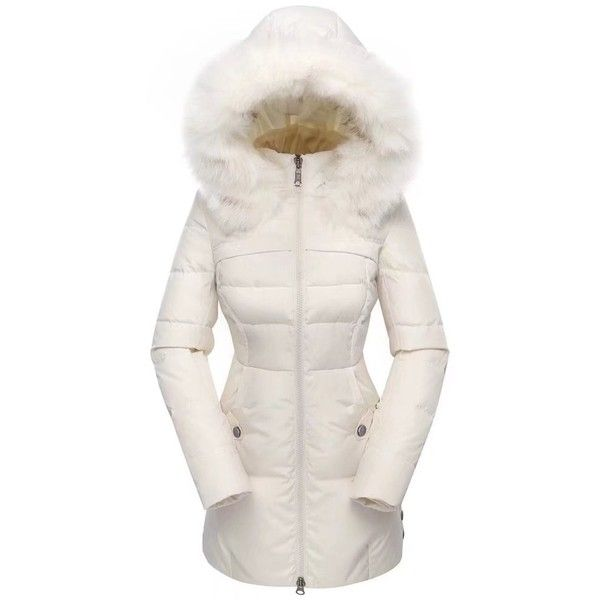 Valuker Women's Down Coat With Fur Hood 90D Parka Puffer Jacket... (¥9,070) ❤ liked on Polyvore featuring outerwear, coats, puffy jacket, white coat, fur hood coat, cream puffer jacket and parka coats