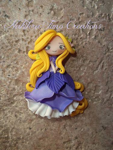 Rapunzel flower dress polymer clay | by Nakihra Fimo Creations
