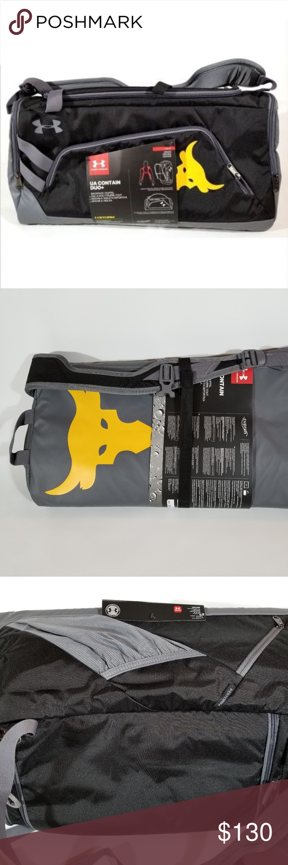 1efd8574b9 Under Armour X Project Rock Contain Duo Duffle Bag Brand New Under Armour X Project  Rock UA Contain Duo+ Backpack / Duffle Bag Style: 1304575-001 Color: ...