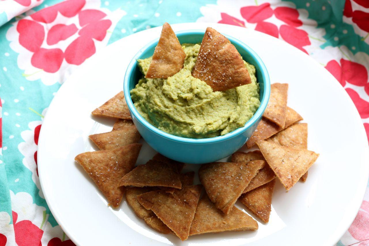 Pesto Hummus and Homemade Whole Wheat Pita Chips