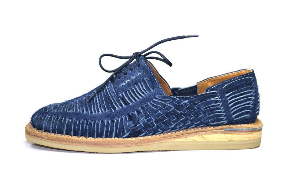 outlet store 82e52 98d50 Blue Double Sole Huaraches     Suede weave