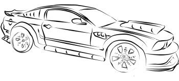 Ford Mustang High Power Coloring Page