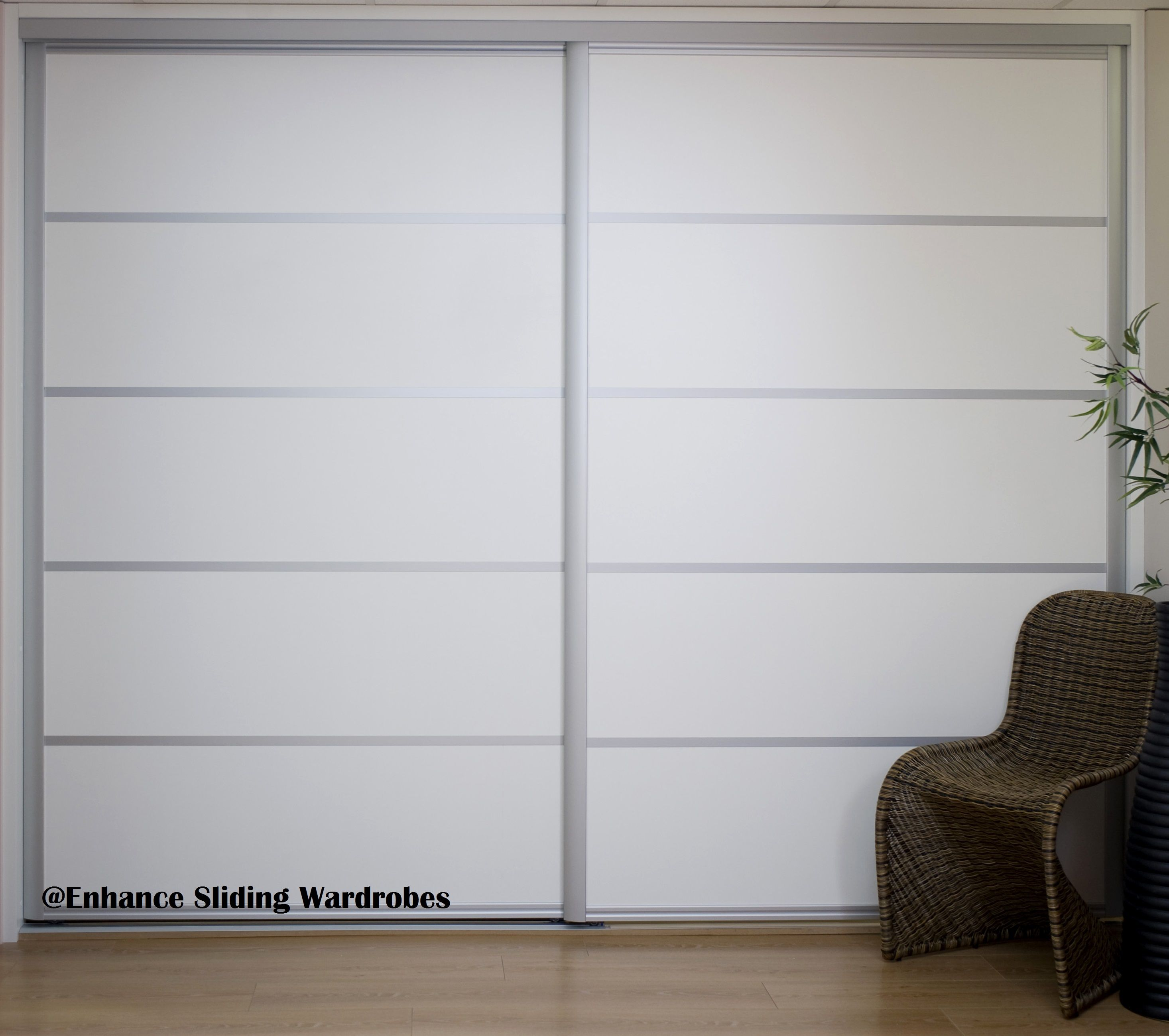Extra wide white sliding doors with chrome straps #ensuite #doors // Designed by & Extra wide white sliding doors with chrome straps #ensuite #doors ...