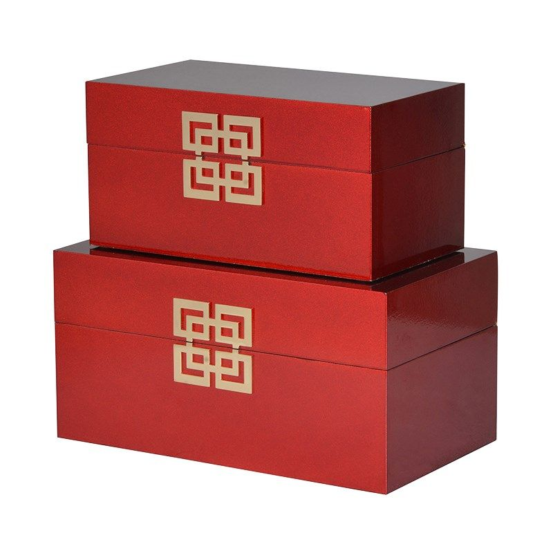 Set Of 2 Red Oriental Boxes Oriental Lacquer Jewel Boxes
