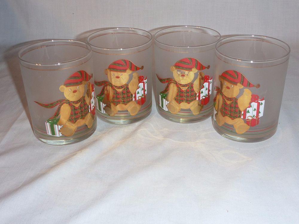 Vtg Mid Century Culver Santa Bear Drinking Rocks Bar Glasses Frosted Christmas