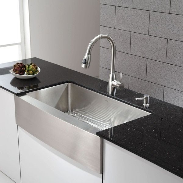 36 Inch Kitchen Sink Bistro Table Kraus Farmhouse Single Bowl Stainless Steel With Noisedefend Soundproofing