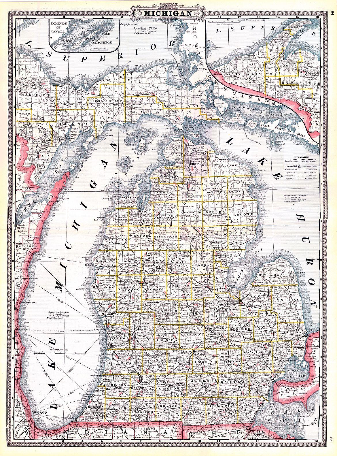 Detailed Michigan Map.Map Antique Michigan A A Grant Geo F Cram 1887 Detailed
