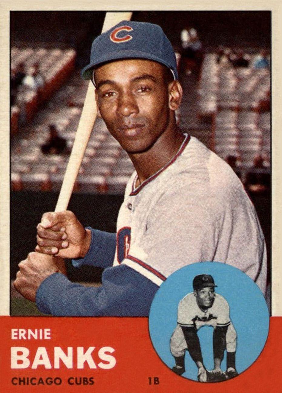 1963 topps ernie banks baseball cards baseball chicago
