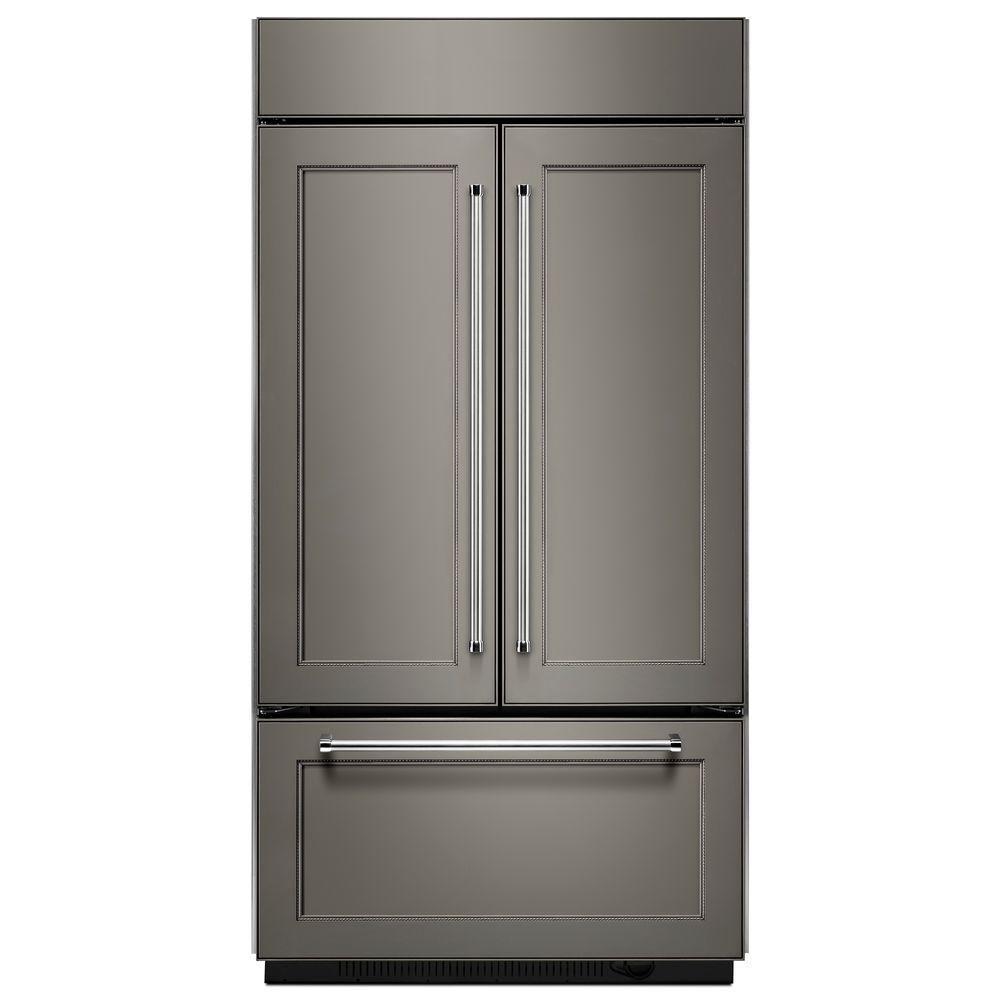 kitchenaid 24 2 cu ft built in french door refrigerator in panel ready platinum interior in. Black Bedroom Furniture Sets. Home Design Ideas