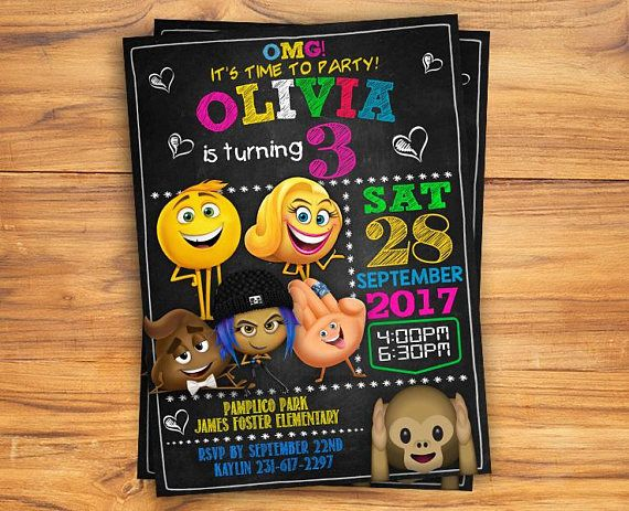 Emoji Movie Invitation Birthday